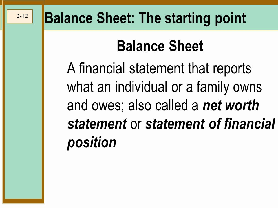 Balance Sheet: The starting point