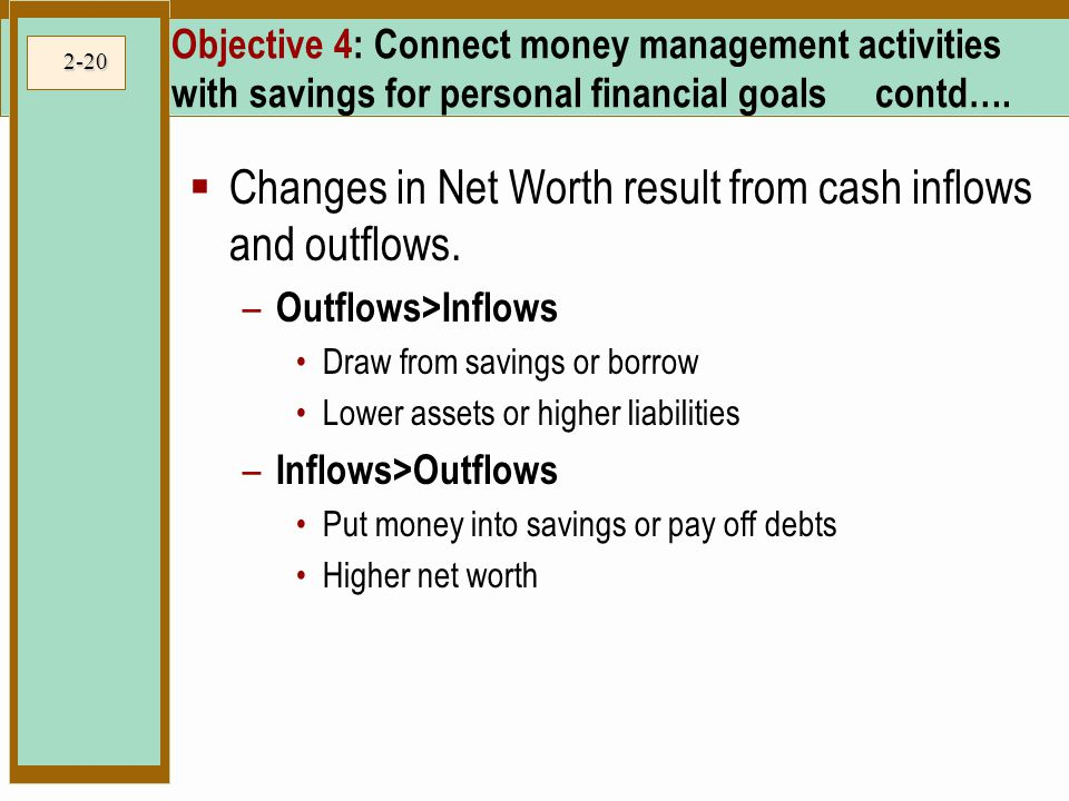 Changes in Net Worth result from cash inflows and outflows.