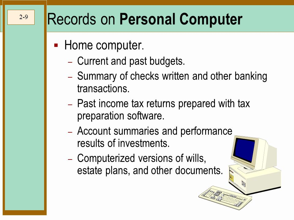 Records on Personal Computer