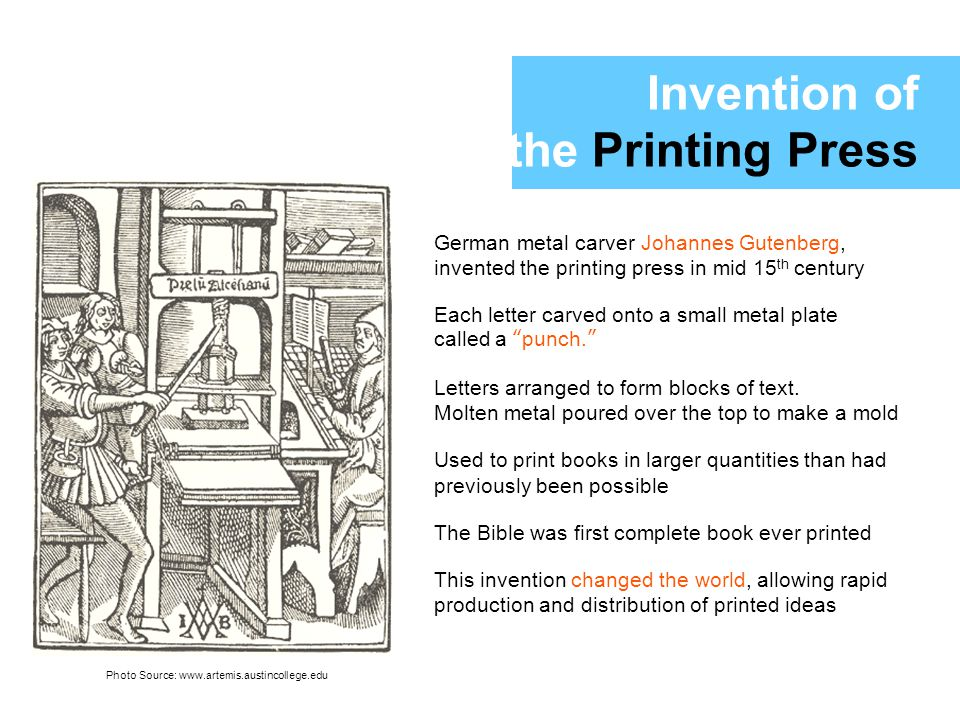 johann gutenberg and the printing press essay Inspiration and invention of the printing press around the late 1430s, a german man named johannes gutenberg the founder of the movable type printing press was invented  during the years 1300s to 1400s, people had already developed a very basic form of printing by stamping on papers.