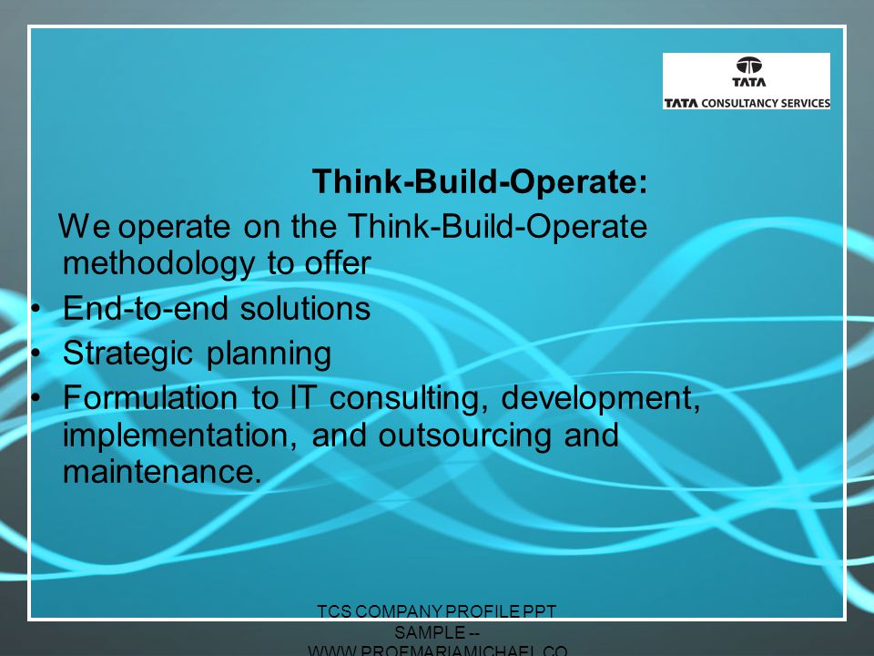 Tcs company profile ppt sample www profmariamichael com for Design consultancy company profile