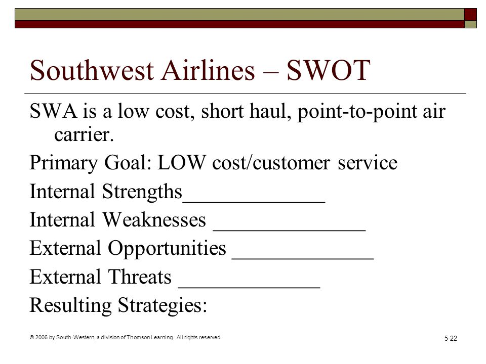 southwest airlines internal and external factors Southwest airlines operations – a strategic  whether it directly applies to the customer or whether it is internal  wwwsouthwestcom (southwest airlines .