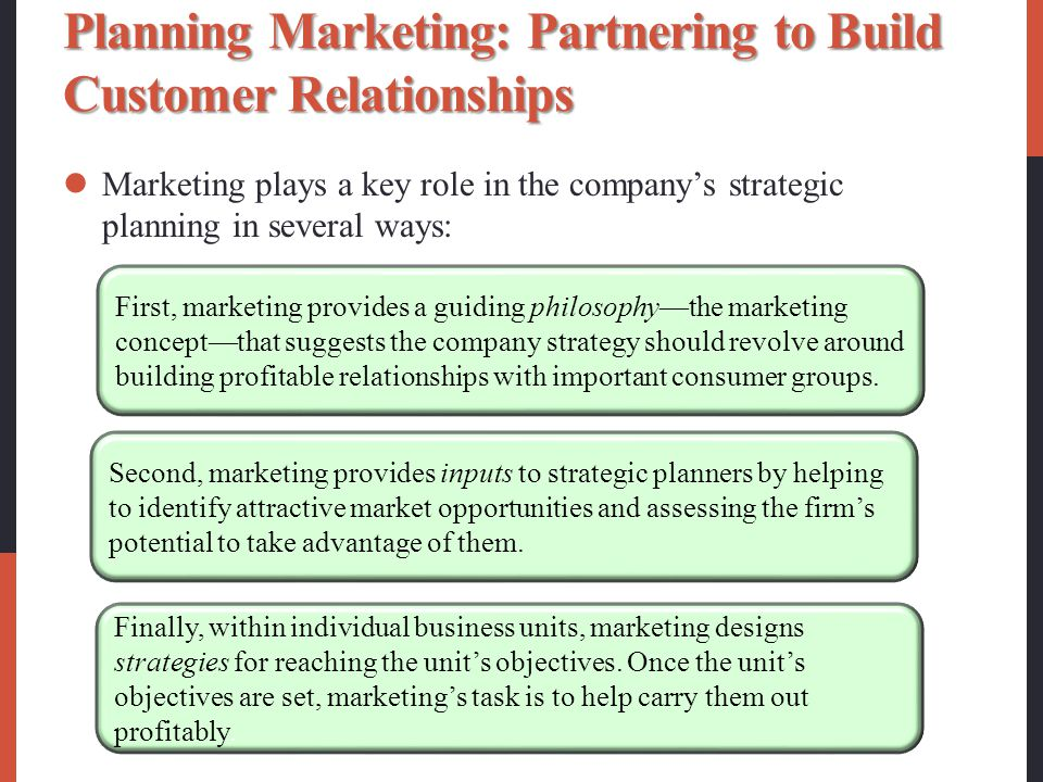 Planning Marketing: Partnering to Build Customer Relationships