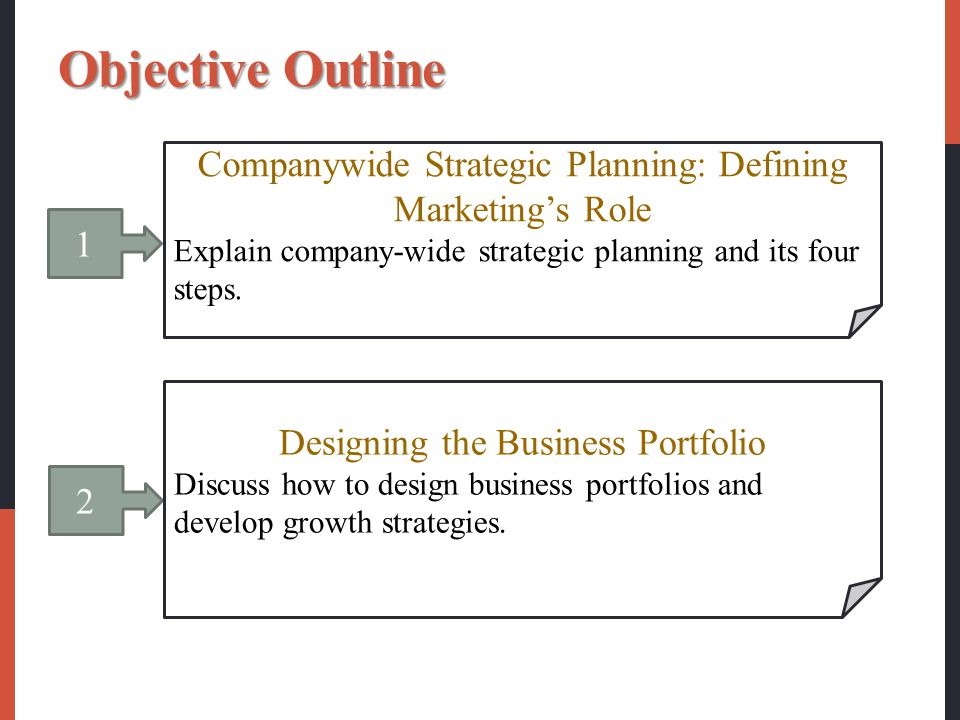 Objective Outline Companywide Strategic Planning: Defining Marketing's Role. Explain company-wide strategic planning and its four steps.