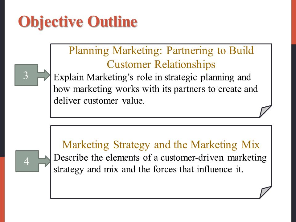 Objective Outline Planning Marketing: Partnering to Build Customer Relationships.