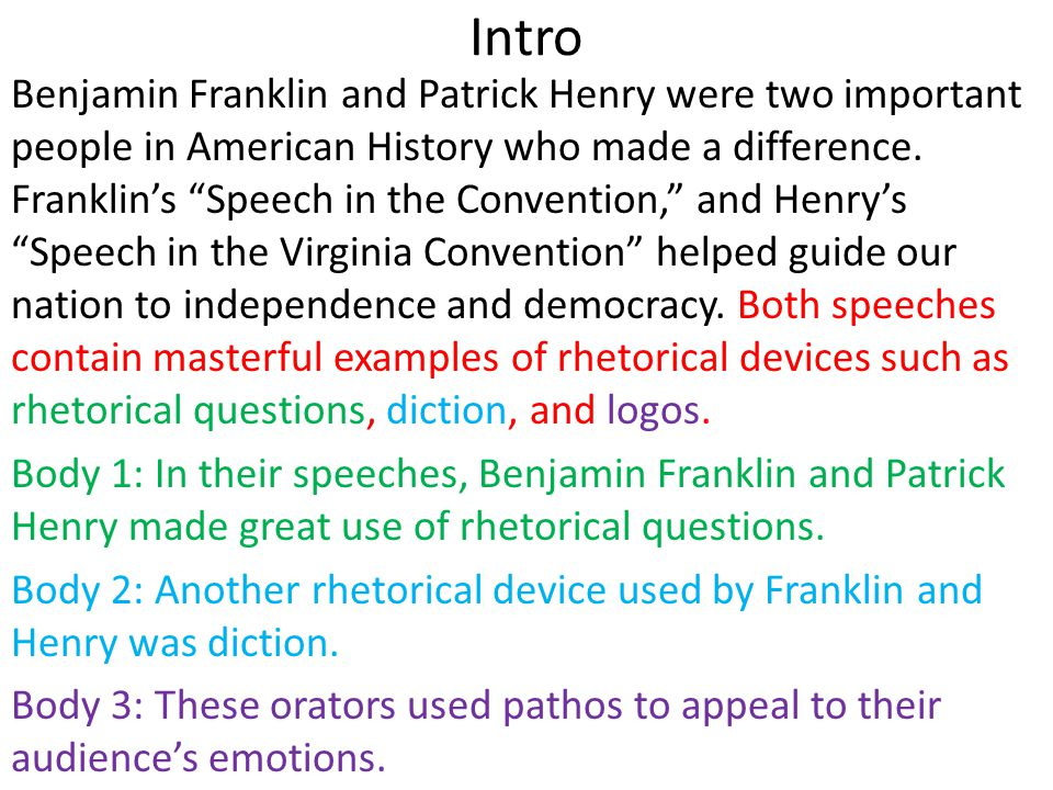 analysis essay on patrick henry Ap ® english language and composition patrick henry's speech before the virginia convention the score should reflect a judgment of the essay's quality as a whole.