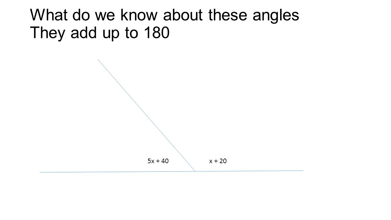 What do we know about these angles They add up to 180