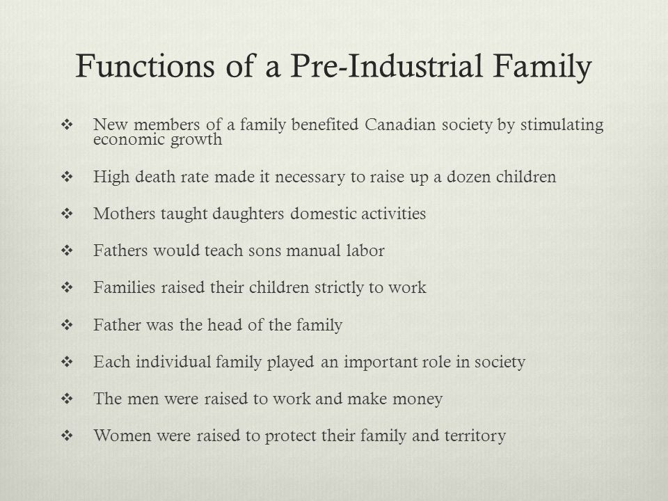 Functions of a Pre-Industrial Family