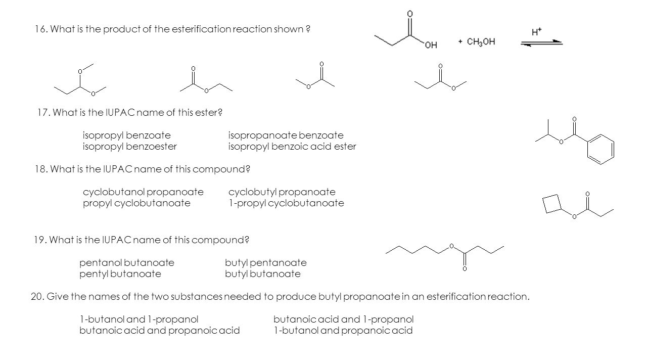 write an equation for the synthesis of isopropyl butanoate from isopropanol and butanoic acid