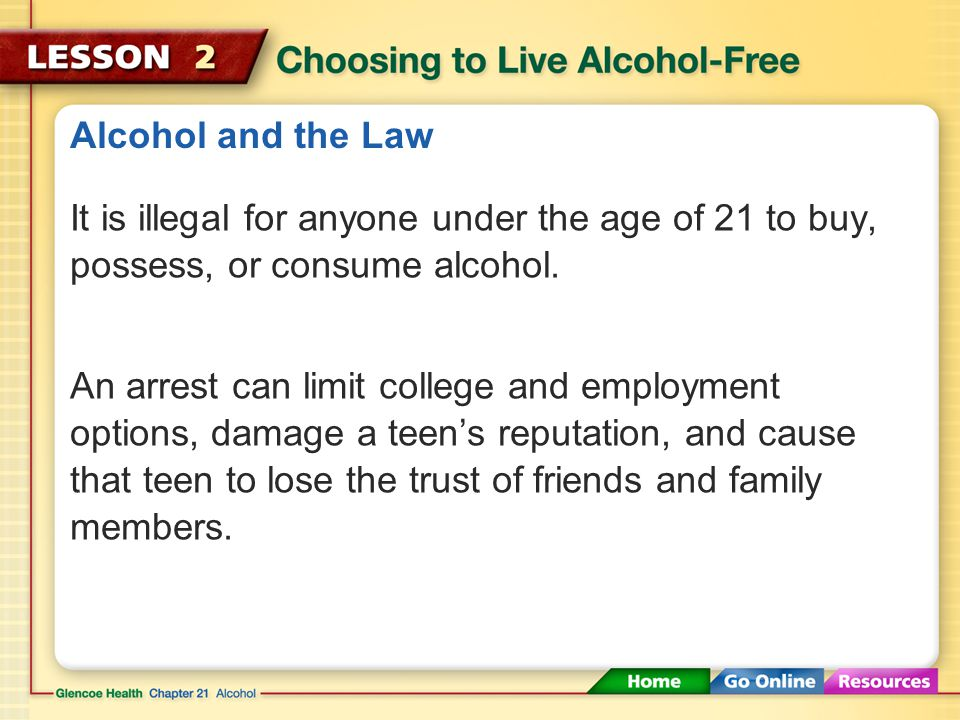 Alcohol and the Law It is illegal for anyone under the age of 21 to buy, possess, or consume alcohol.