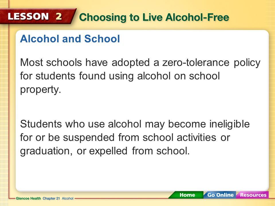 Alcohol and School Most schools have adopted a zero-tolerance policy for students found using alcohol on school property.