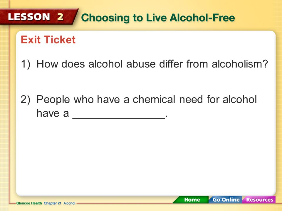 Exit Ticket How does alcohol abuse differ from alcoholism.