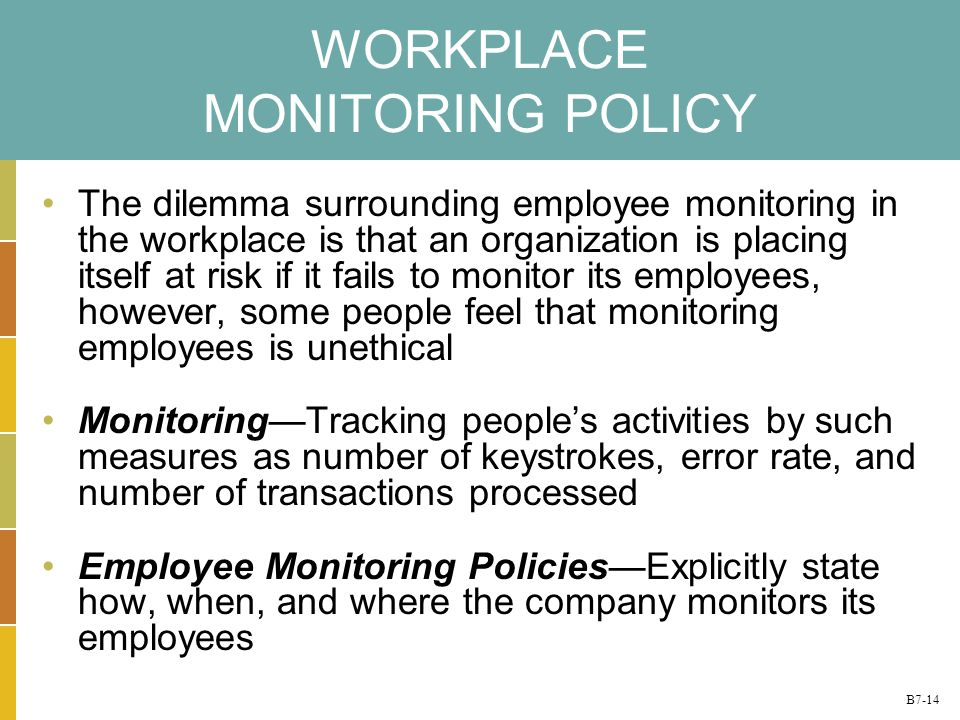 ethical to monitor employees whilst in workplace The question of legality in regards to employee monitoring is an example of meso level ethics in tension with macro level ethicsof course many organization comply with the macro level ethical paradigm, the mention of this is to highlight the ethical boundaries of decisions as codified into law.