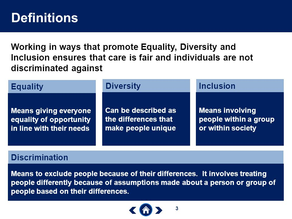 equality diversity and inclusion The common induction standards were replaced by the care certificate on 1 there are various ways of obtaining information on diversity, equality and inclusion.