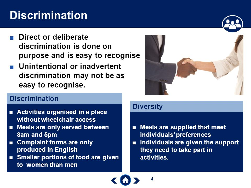 describe ways in which discrimination may be deliberate May 2002 /£1000 w trustees  disability discrimination in an early years setting (activity)  different cultures have responded in various ways to disabled people.