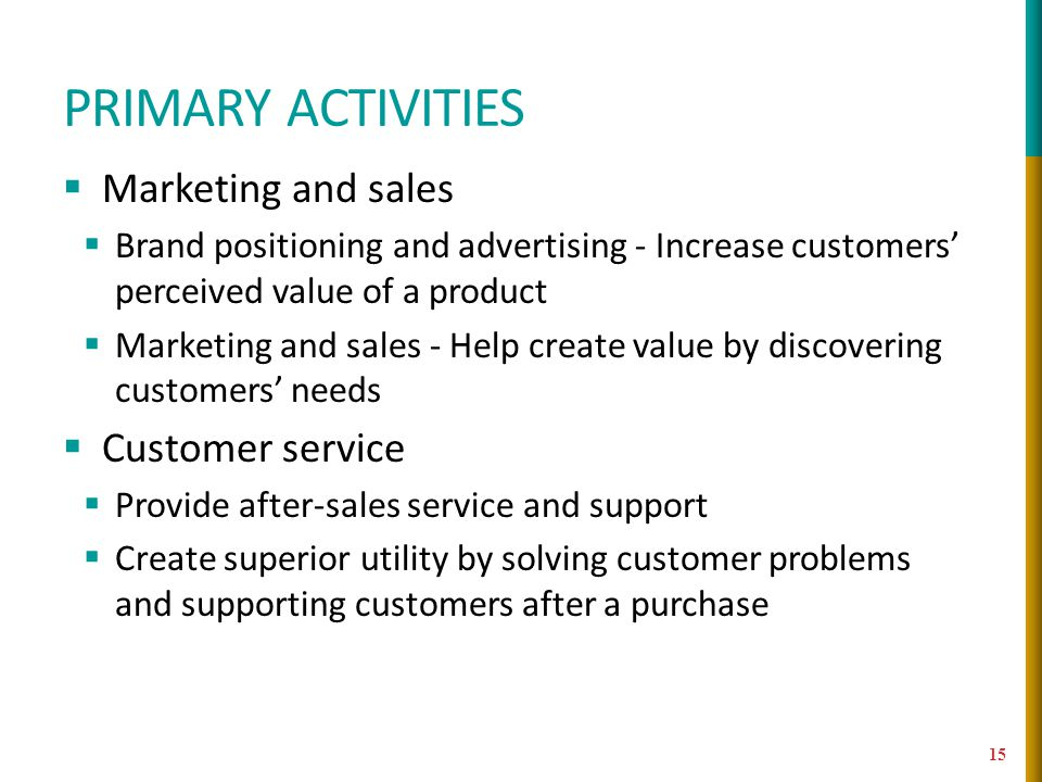 Primary activities Marketing and sales Customer service