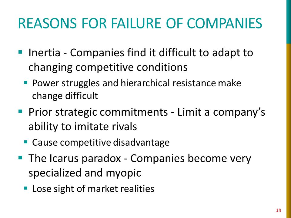 Reasons for failure of companies