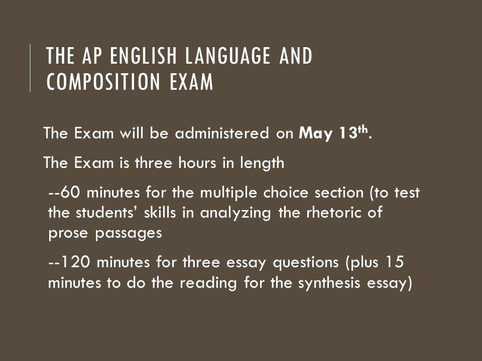 ap english language exam essays When you are writing a for an ap english language or ap english literature prompt you need to  ap exam days  minutes seconds until.