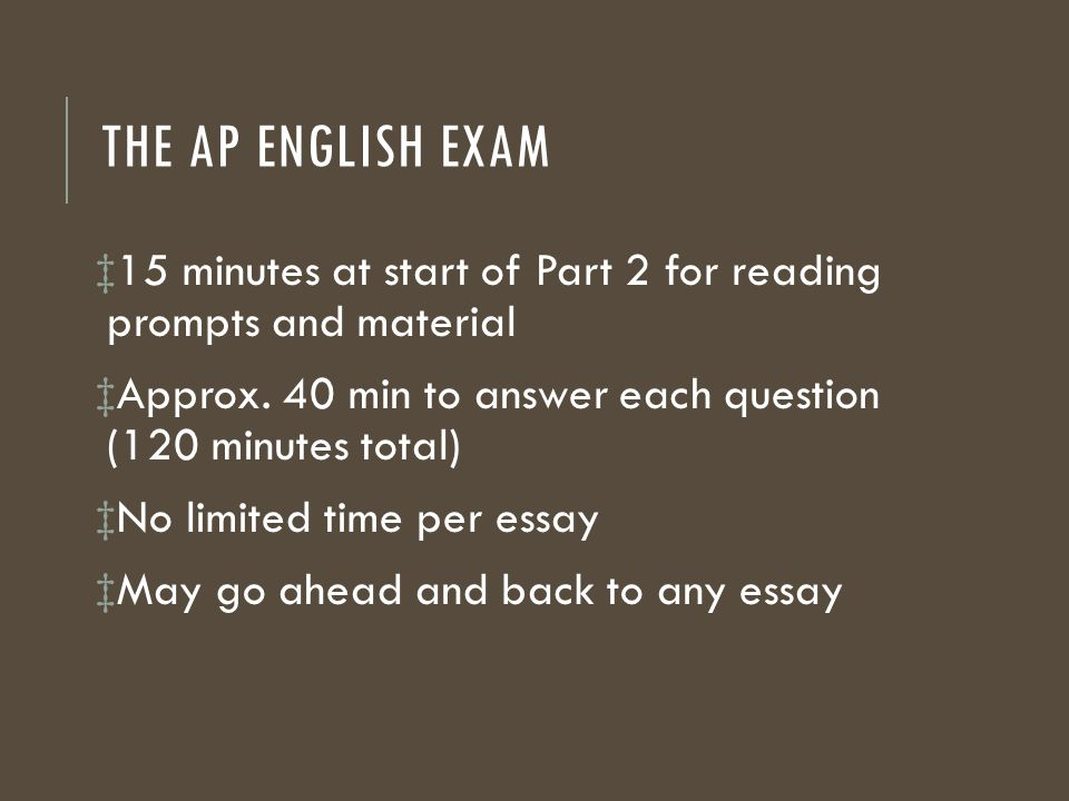 ap english language exam essay prompts Ap language and composition prompts (1981 to 2011) year question 1 question 2 question 3 of language, and tone write a persuasive essay that defends, chal.
