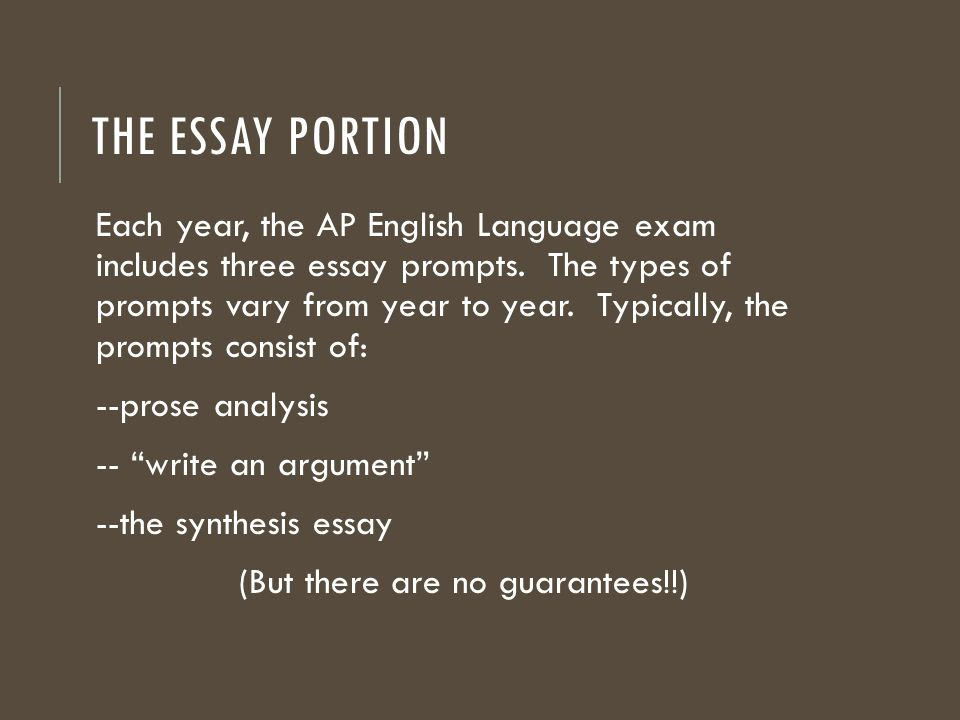 types of essays on ap language exam And abrams' glossary of literary terms terms – ap english language political writing on the ap language exam  types of irony used in language.