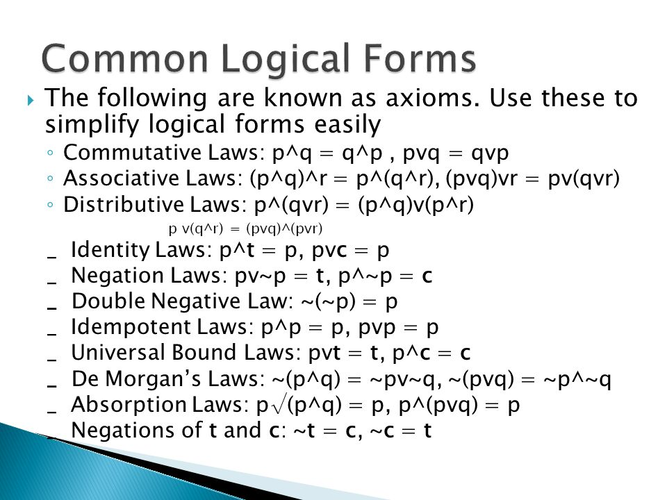 Introduction to Logic Logical Form: general rules - ppt download