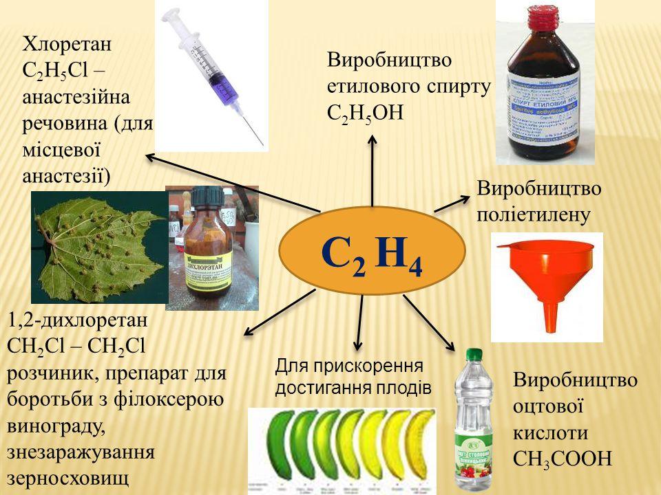 С2 Н4 Хлоретан С2Н5Сl –анастезійна речовина (для місцевої анастезії)