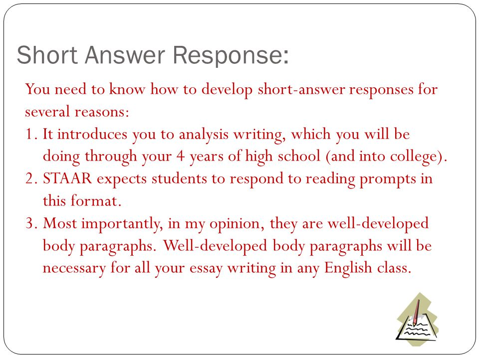 Writing a short answer essay for college