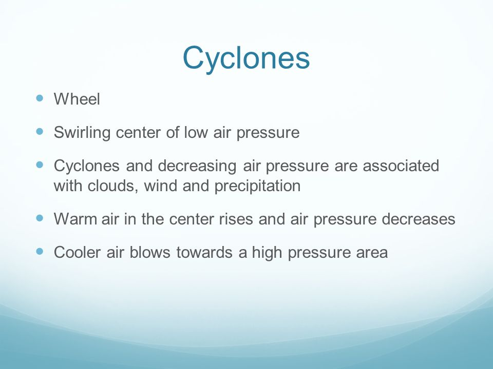 Cyclones Wheel Swirling center of low air pressure