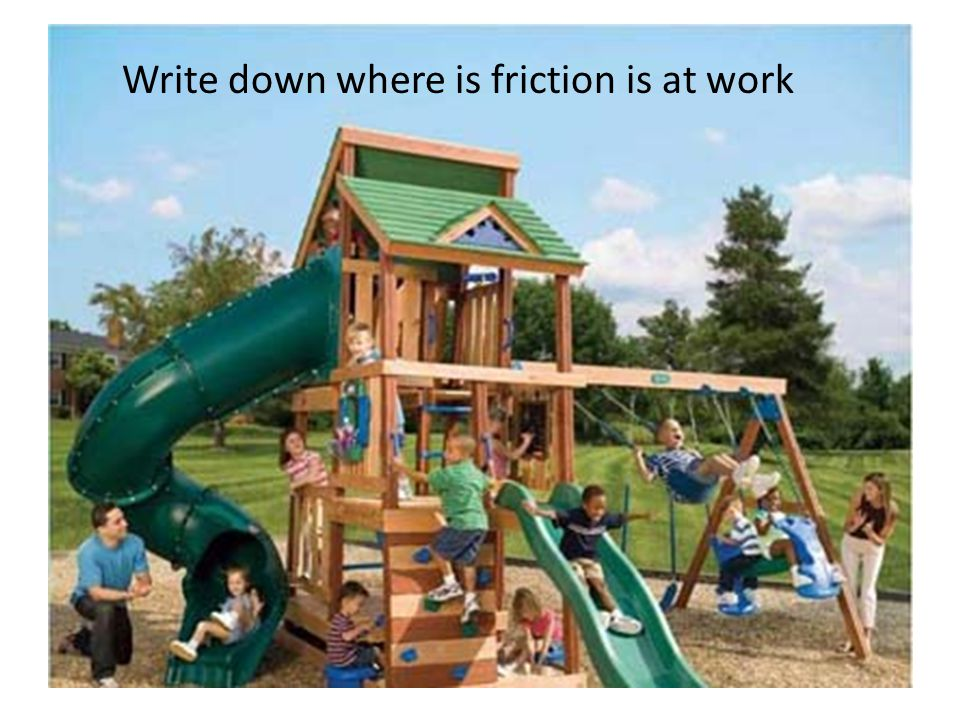 Write down where is friction is at work