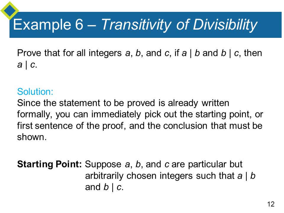 Example 6 – Transitivity of Divisibility