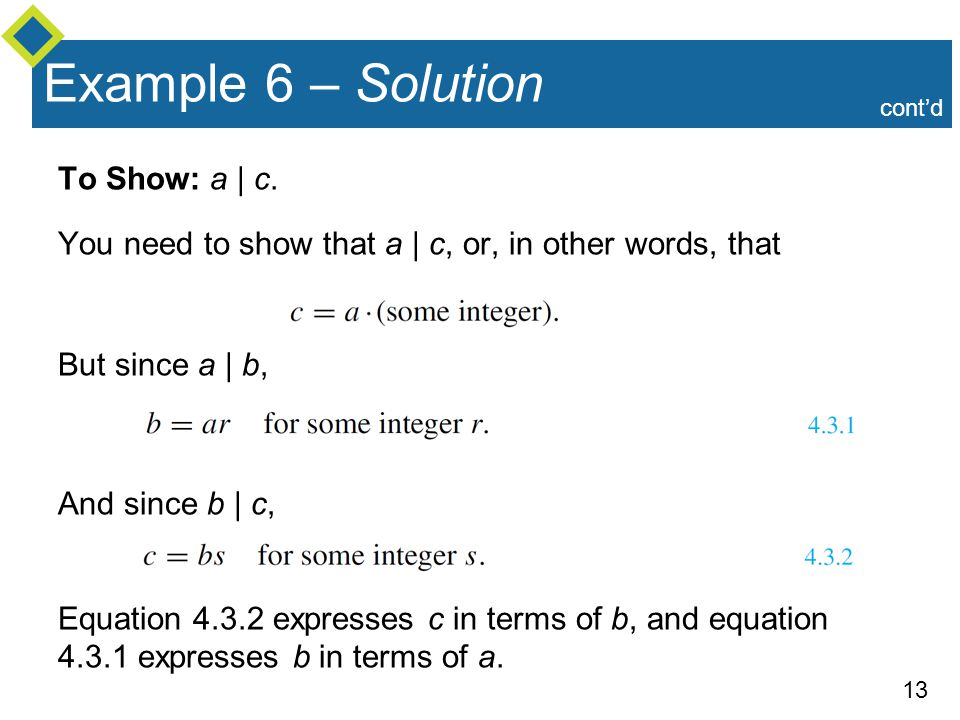 Example 6 – Solution To Show: a | c.