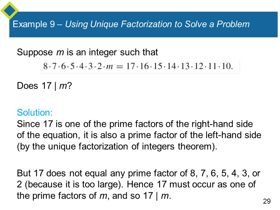 Example 9 – Using Unique Factorization to Solve a Problem