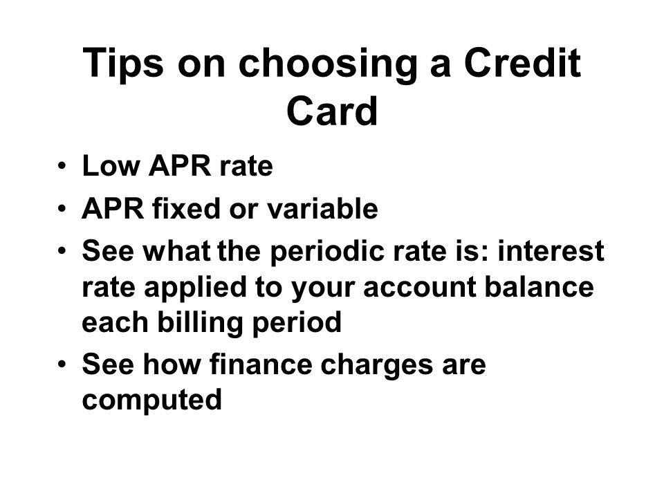 Tips on choosing a Credit Card