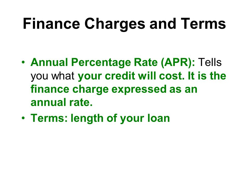 Finance Charges and Terms