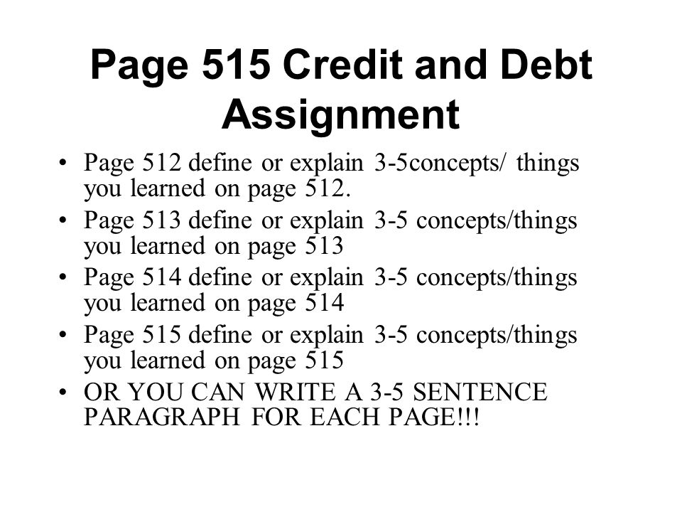 Page 515 Credit and Debt Assignment