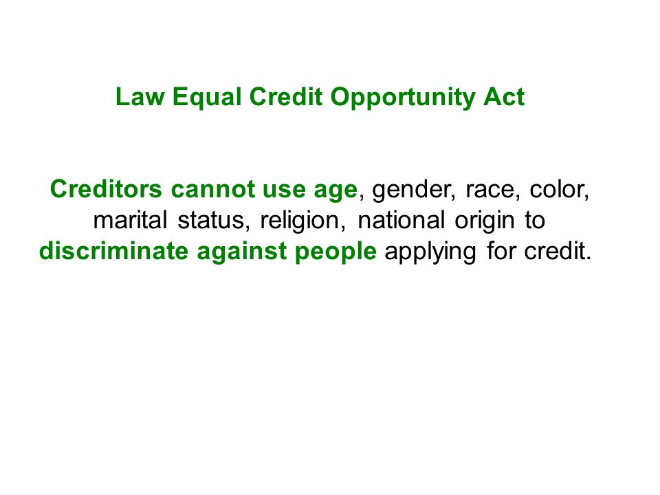Law Equal Credit Opportunity Act