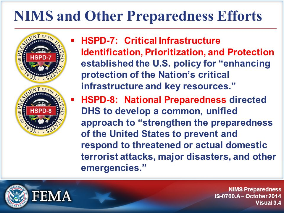 NIMS and Other Preparedness Efforts