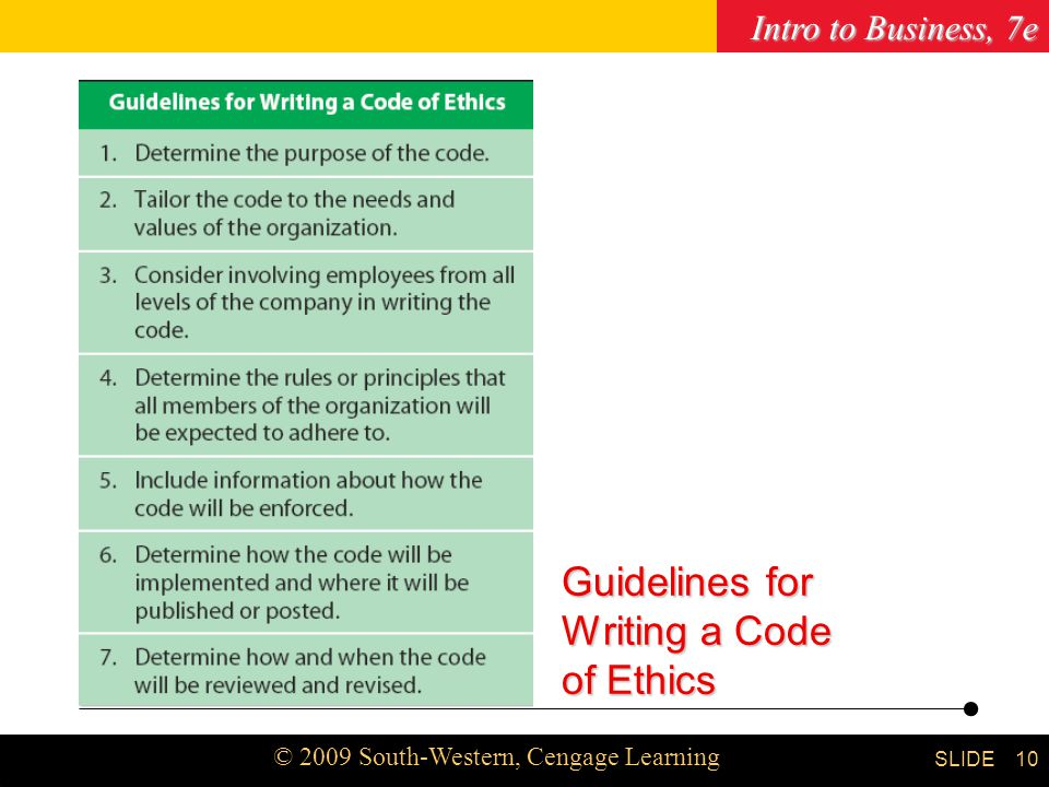 Writing a professional code of ethics