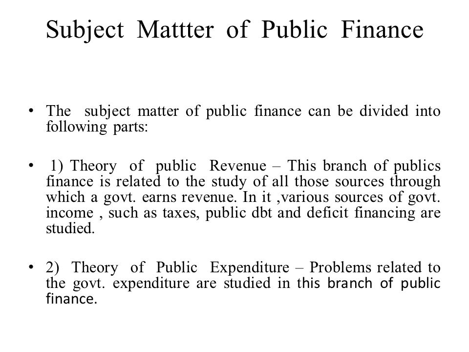 nature and scope of public finance pdf