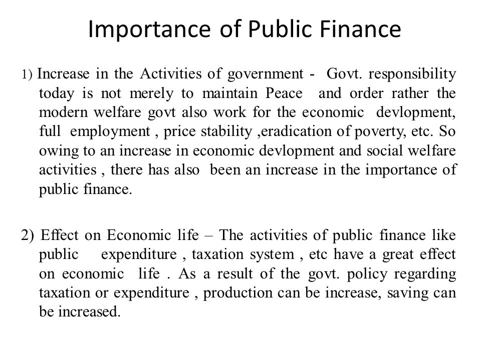 Importance of Public Finance