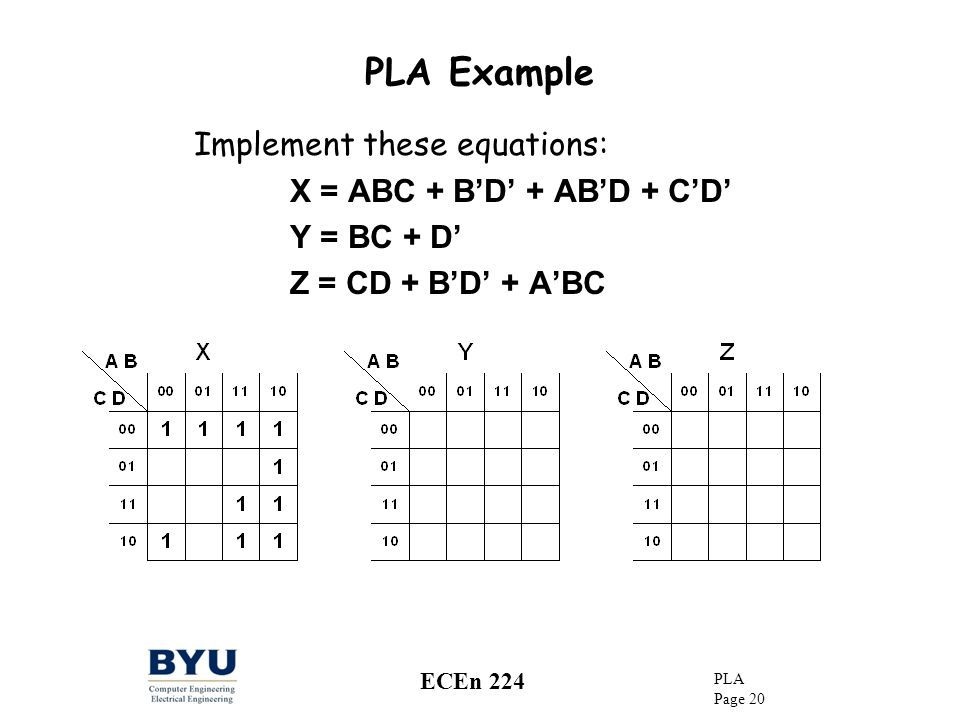 PLA Example Implement these equations: X = ABC + B'D' + AB'D + C'D'