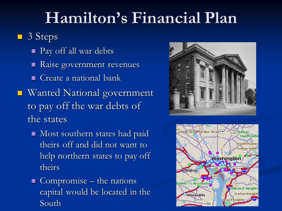 hamiltons economic plan Hamilton's economic plan for the nation included establishing a national bank like that in england to maintain public credit hamilton, adams, jefferson.
