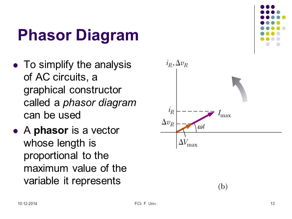Phasor Diagram To simplify the analysis of AC circuits, a graphical constructor called a phasor diagram can be used.