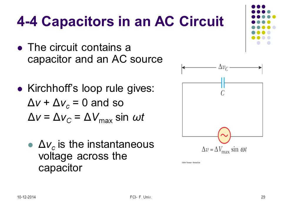 4-4 Capacitors in an AC Circuit