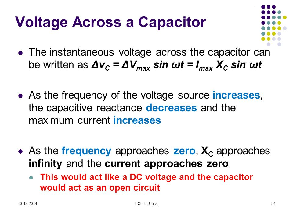 Voltage Across a Capacitor