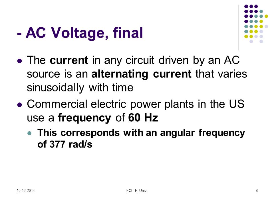 - AC Voltage, final The current in any circuit driven by an AC source is an alternating current that varies sinusoidally with time.
