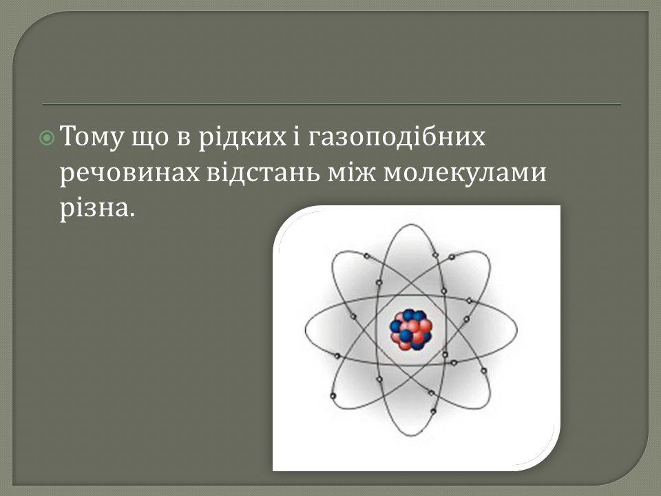 Тому що в рідких і газоподібних речовинах відстань між молекулами різна.