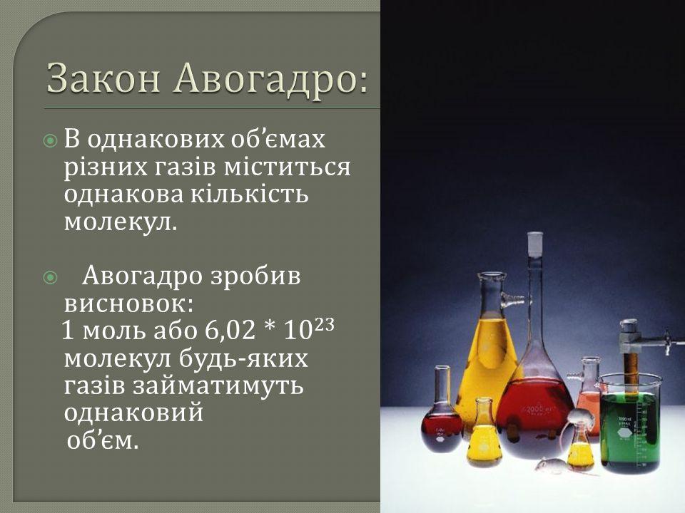 Закон Авогадро: В однакових об'ємах різних газів міститься однакова кількість молекул. Авогадро зробив висновок: