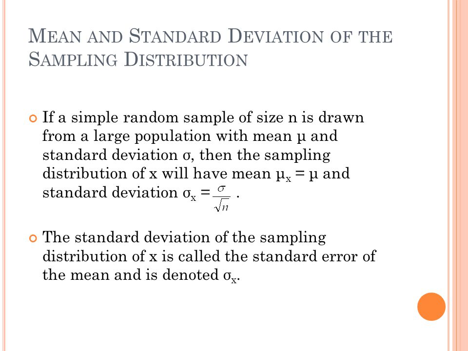 Chapter 8 Sampling Distributions - ppt download
