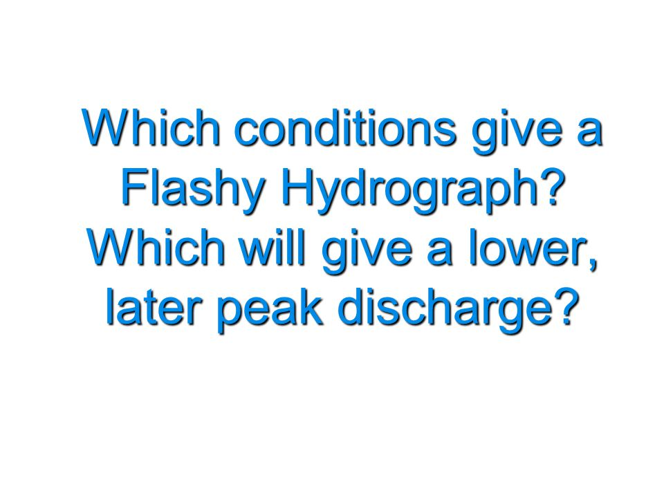Which conditions give a Flashy Hydrograph